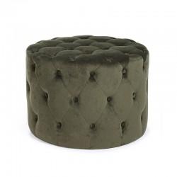 Pouf in velvet green, grey, turtledove - Paul