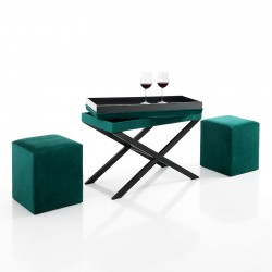 Bench / Coffee Table with 2 Poufs in green velvet - Lea
