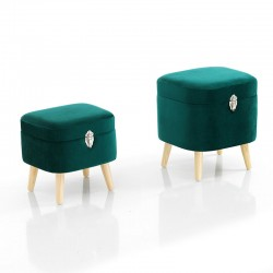 Set 2 Pouf Contenitore in velluto verde o grigio - Gem