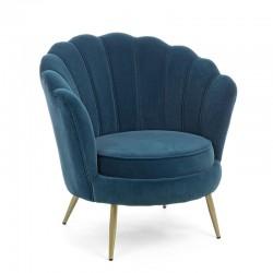 Armchair in velvet and gold steel feet - Shell