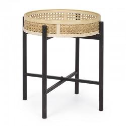 Tavolino in Rattan con gambe in Acciaio nero - Akin