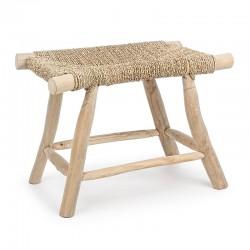 Sgabello in legno e intreccio naturale - Ravi