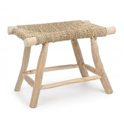 Stool in wood with natural weave - Ravi