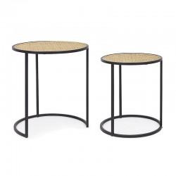 Set 2 Tavolini in Rattan e Acciaio nero - Tafari