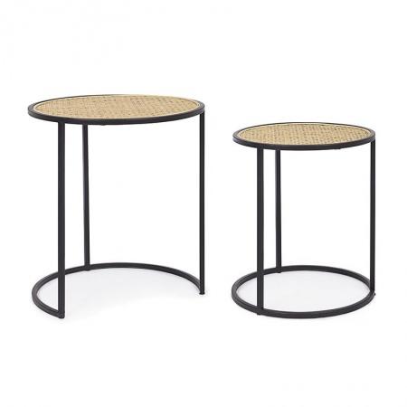 Set 2 Coffee tables in rattan and steel - Tafari