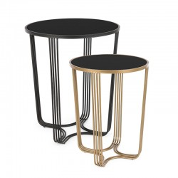 Set 2 Coffee tables in steel and glass Black / Gold - Ottavio
