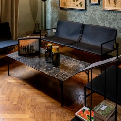 Coffee table in marble and metal - Tout Le Jour
