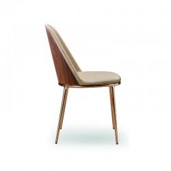 Sedia imbottita con schienale in legno - Lea