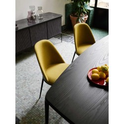 Upholstered chair with wooden back - Lea