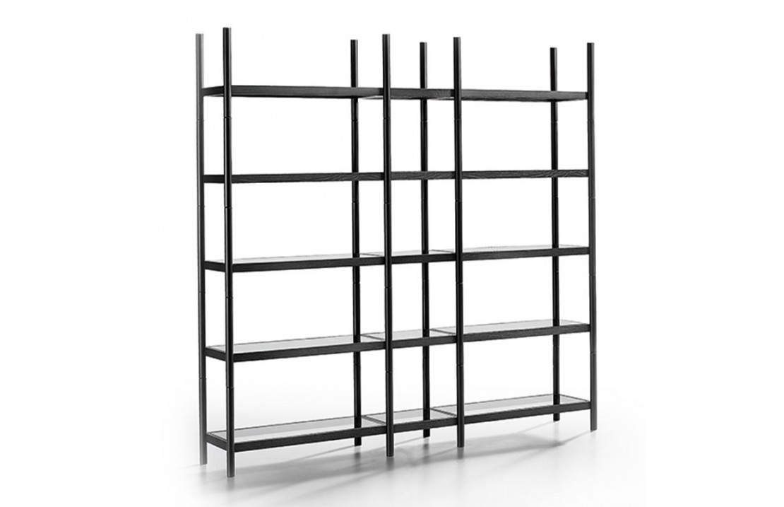 Modular bookcase with glass shelves - Siena