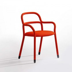 Chair with armrests in fabric and imitation leather - Pippi