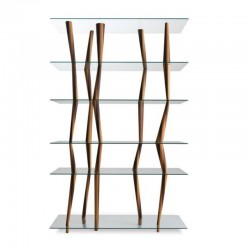 Bookcase in solid wood and glass shelves - Sendai
