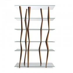 Libreria in legno massello e ripiani vetro - Sendai