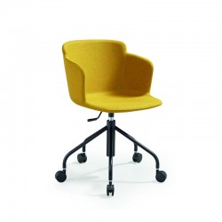 Upholstered chair with armrests on wheels - Calla