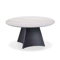 Tavolo tondo con piano in legno/ceramica - Concave
