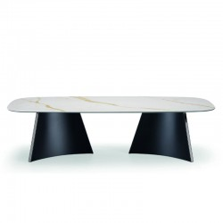 copy of Round table with wooden/ceramic top - Concave