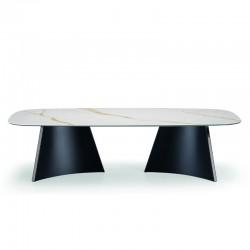 Tavolo pranzo/riunioni con piano in ceramica - Concave