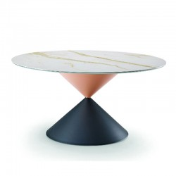 Round table with wooden/ceramic top - Hourglass