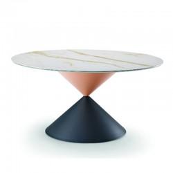 Tavolo tondo con piano in legno/ceramica - Clessidra
