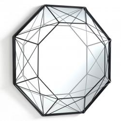 Octagonal Mirror in black metal - Gem