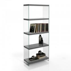 Libreria 5 ripiani in MDF e Vetro - Later