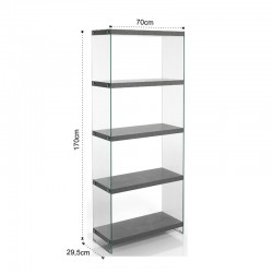 5 Shelves Bookcase in MDF and glass - Later