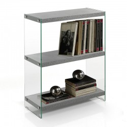 3 Shelves Bookcase in MDF and glass - Later