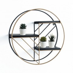 Round Wall Shelves black and gold - Tao