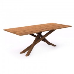 Fixed outdoor table in mahogany - Bridge