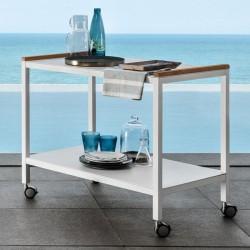 Carrello portavivande in alluminio con dettagli in teak - Cart