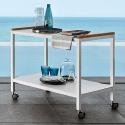 Serving cart in aluminium with teak details - Cart