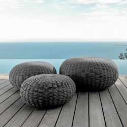 Outdoor pouf in hand-woven rope - Jackie
