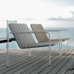 Outdoor armchair in steel and hand-woven rope - Jackie
