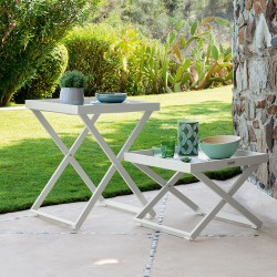 Serving table in aluminium with removable tray - Ray