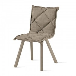 Padded chair in eco-leather or microfiber -Digione