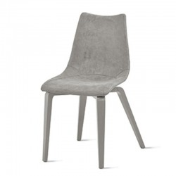 Wooden chair with padded eco-leather seat -Maiorca
