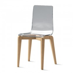 Design chair in wood and polycarbonate -Berlino
