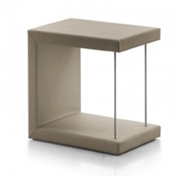 Leo bedside table in eco-leather upholstery