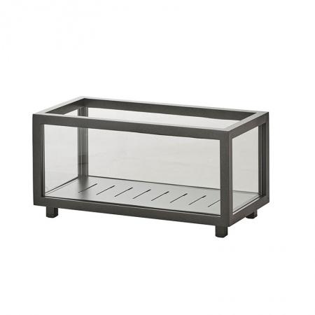 Lantern / glass and aluminium Cachepot