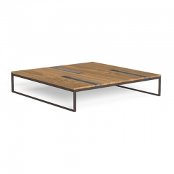 Outdoor coffee table in wood and travertine - Casilda