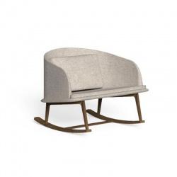 Sedia a dondolo da esterno in legno e tessuto - Cleo Teak