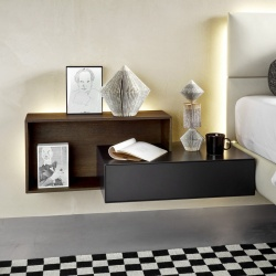 Wall Mounted Bedside Table with Open Unit - Ecletto
