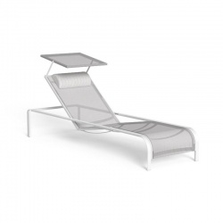 Stackable and reclining sun lounger in aluminium and textilene