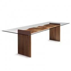 Tavolo in Legno e Vetro di Design - Ripples