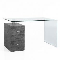 Glass Desk with Pedestal - Concrete