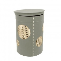 Brown Leather Laundry Basket with Lid - Pavio