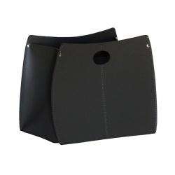 Design Magazine Rack in leather with Handles - Vanda