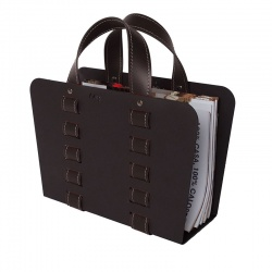 Design Magazine Rack in Steel and Leather - L-Bag