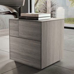 Wooden Bedside Table with Design Drawers - Klee