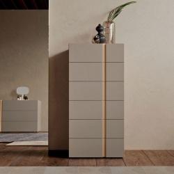 Modern Tallboy in Wood with 6 Drawers - Virgo